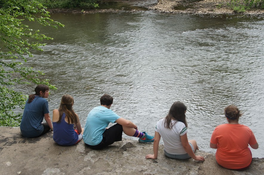 Student volunteers take a break from a fence painting project to enjoy a view of the Stonycreek River along the trail.